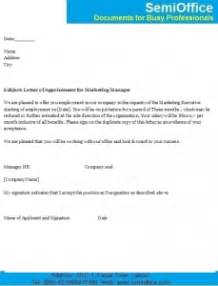 appointment letter  marketing executive  manager
