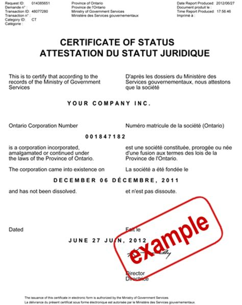 Ontario Certificate of Status- Resources for Canadian ...