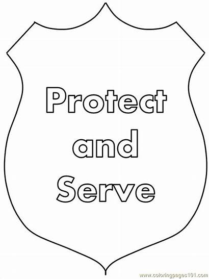 Police Coloring Hat Officer Printable Template Craft