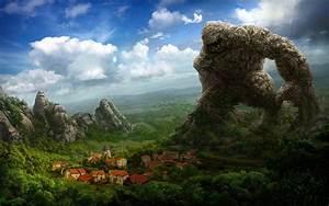 fantasy Art, Artwork, Drawing, Rock, Creature, Town, House ...