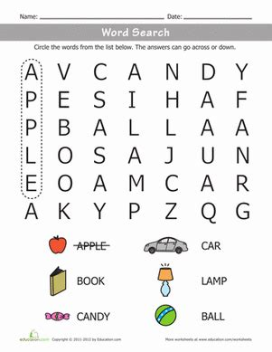 word search worksheets kindergarten early words word search worksheet education com