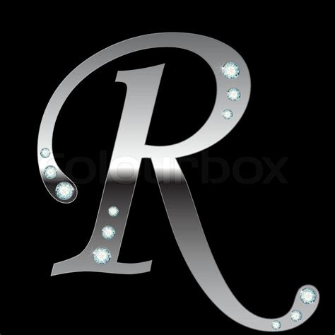 the letter r 2 vector silver metallic letter r with stripes isolated