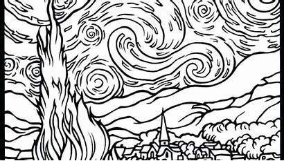 Starry Coloring Night Pages Van Gogh Shooting