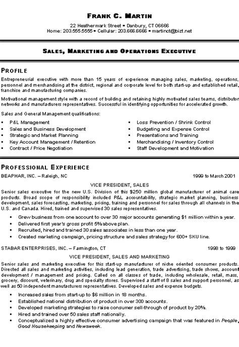 Sle Of A Resume Format marketing sales executive resume exles sle