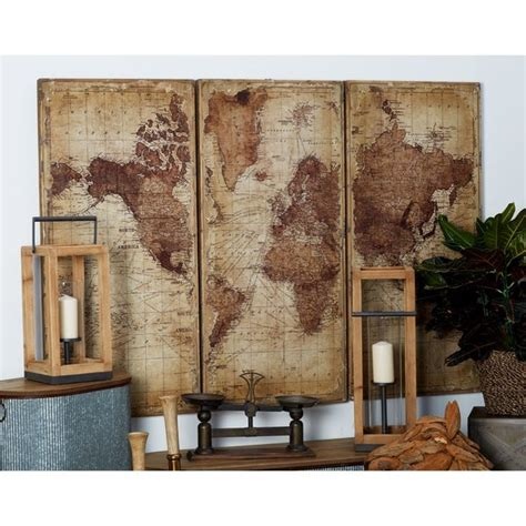 Prisma wall decor are versatile metal geometric shapes that can be hung from the ceiling, wall mounted, or displayed on any table surface. Shop Set of 3 Rustic Wood Antique World Map Wall decor by Studio 350 - On Sale - Free Shipping ...