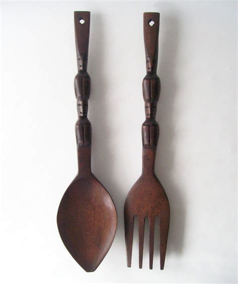 wooden fork and spoon wall hanging vintage wooden fork and spoon wall hanging carved mahogany