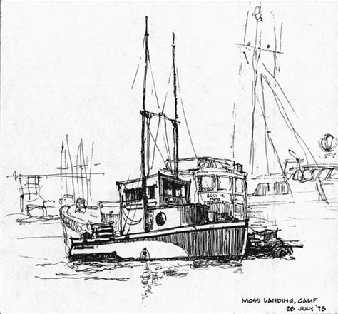 Boat Drawing Ink by Fishing Boats Drawings