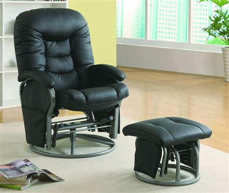 comfort swivel glider chair with ottoman in black
