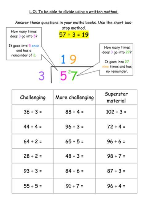 division worksheets ks2 ks2 division written method stop method by jodieclayton teaching resources tes