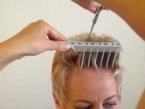 cut womens short hair layer haircut combpal scissor  comb hair cutting tool video