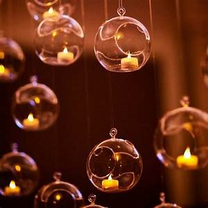 1PCS CLEAR HANGING GLASS BAUBLES BALL CANDLE TEALIGHT