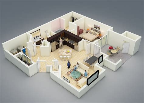 25 one bedroom house apartment plans planos flat house