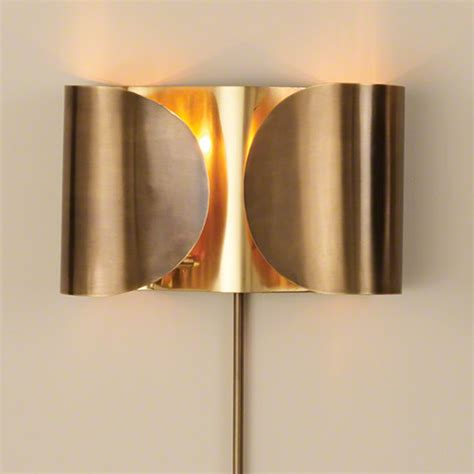 Hardwired Sconce by Global Views Hardwired Folded Sconce Antique Brass Brass