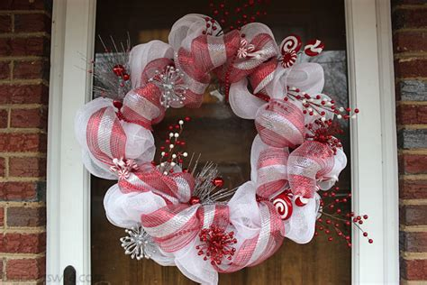 candy cane christmas deco mesh wreath tutorial big bear