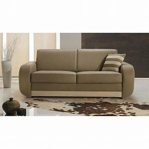 canape lit rapido cuir beige convertible systeme rapido With canapé rapido cuir