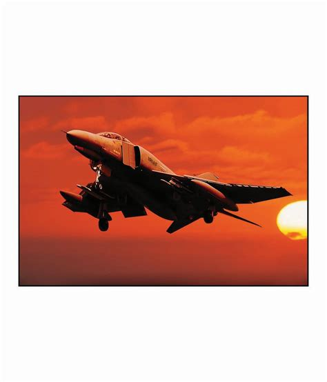 Artifa Fighter Plane Flying During Sunset Poster Best