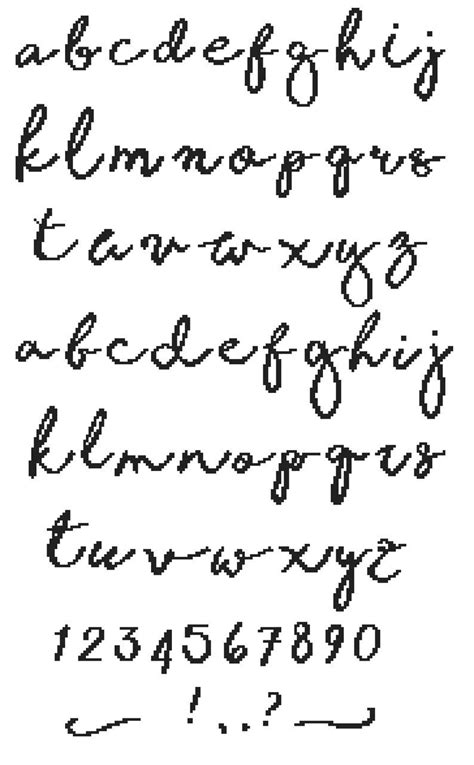 handwriting alphabet cross stitch pattern  written font needlepoint counted chart cursive