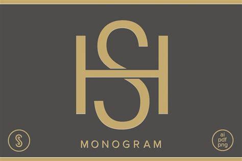 hs monogram sh monogram logo templates creative market