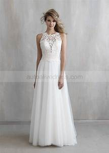 Ivory lace tulle jewel neckline long wedding dress for Jewel neckline wedding dress