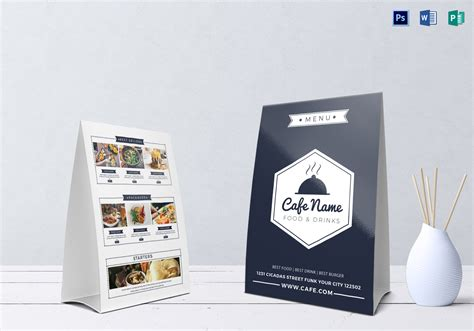 cafe menu table tent design template  psd word publisher