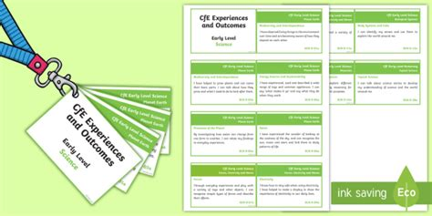 * New * Cfe Early Level Science Experiences And Outcomes Cards