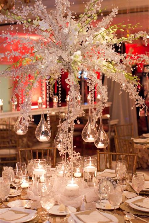 centerpieces white hanging tea lights teardrop globes gold
