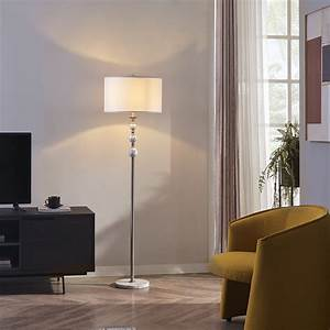Rosen, Garden, Floor, Lamp, Standing, Reading, Light, With, Natural, Marble, Base, And, Fabric, Shade