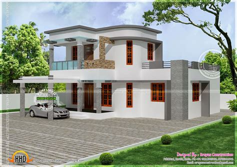 flat with curvy mix roof house