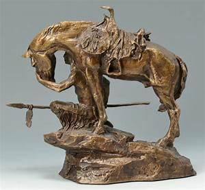 Lot 632  2 Buck Mccain Bronze Sculptures