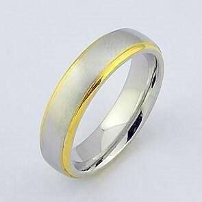 silver and gold genuine stainless steel men s ring wedding band ebay