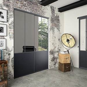 Porte Coulissante Miroir Placard : lot de 2 portes de placard coulissante miroir noir ~ Premium-room.com Idées de Décoration