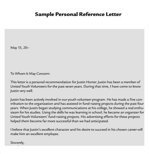 personal reference template 7 personal reference letter templates for free sle templates
