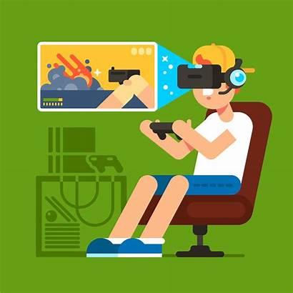 Gaming Vector Games Playing Vr Illustration Boys