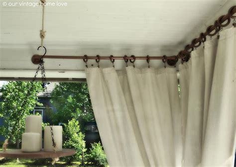 porch ideas for summer and an industrial pipe curtain rod