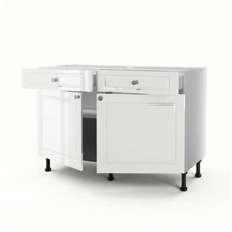 meuble cuisine bas 120 cm meuble de cuisine bas blanc 2 portes 2 tiroirs chelsea h