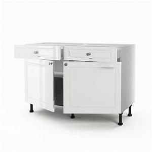 Meuble Bas 2 Portes : meuble de cuisine bas blanc 2 portes 2 tiroirs chelsea h ~ Dallasstarsshop.com Idées de Décoration