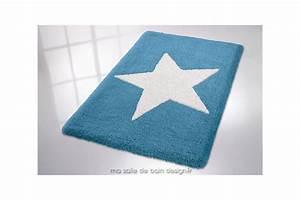 tapis de bains uni couleur avec etoile blanche centrale With tapis de bain de qualité