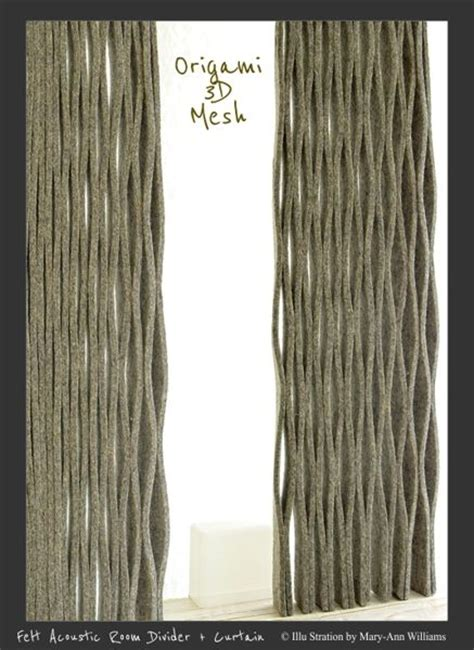 origami 3d mesh felt acoustic room divider curtain