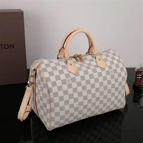 replica lv louis vuitton speedy  bag  damier handbag white lv  luxury shop