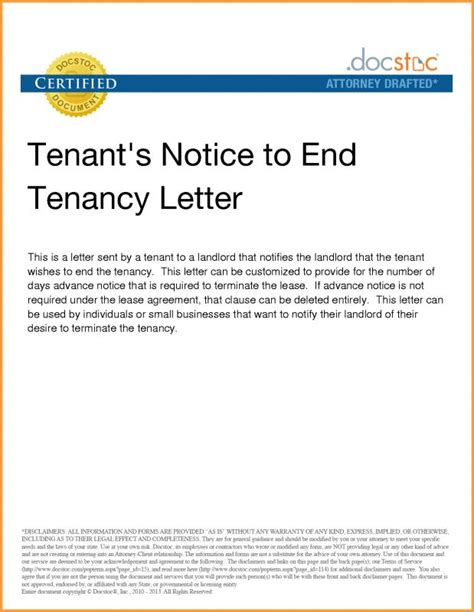 notice  lease termination letter  landlord  tenant