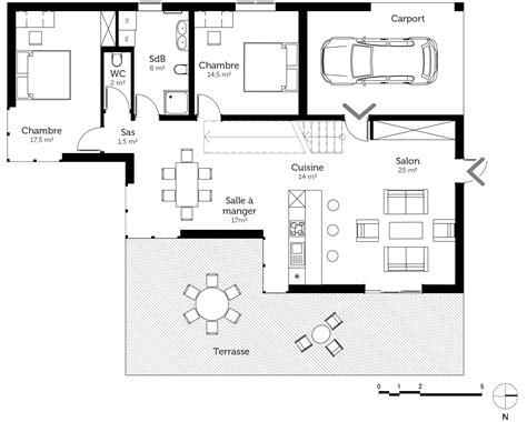 plan maison en l 4 chambres plan maison à toit plat avec 4 chambres ooreka