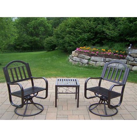 oakland living rochester 3 patio swivel chair set