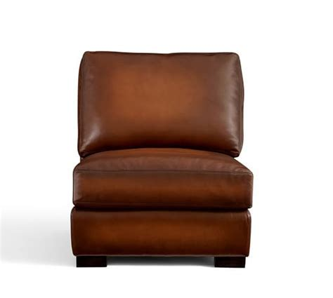 Turner Leather Armless Chair   Pottery Barn