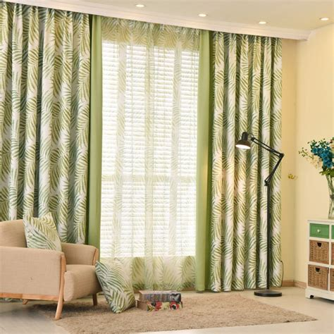 Country Style Patterned Curtains Thick Drapes Green And