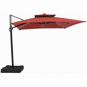 Garden treasures 10 ft square offset umbrella with led for Patio umbrella lights lowes