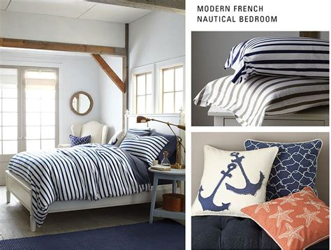 modern french nautical bedroom    beach theme