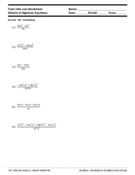 worksheet dividing polynomials long synthetic division algebra printable
