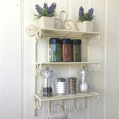 Shabby Chic Metal Wall Shelf Unit Hooks Storage Kitchen