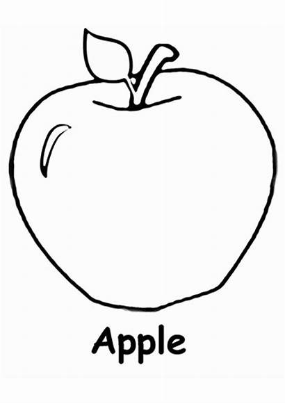 Apple Coloring Fruits Pages Apples Worksheets Printable