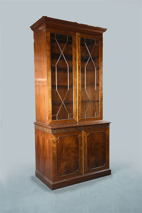 Bookcase With Cupboard Base by Georgian Style Mahogany Two Part Bookcase With